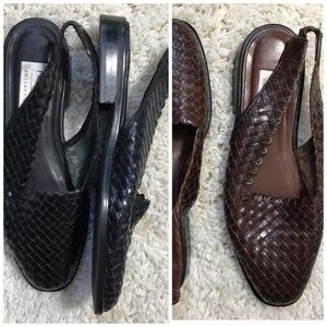 Vintage woven leather sling back sandal flats